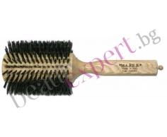 MAREB - Дървена четка за коса с естествен косъм - размер 75мм