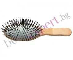 Специална дървена четка за деликатно разресване на коса и екстеншън